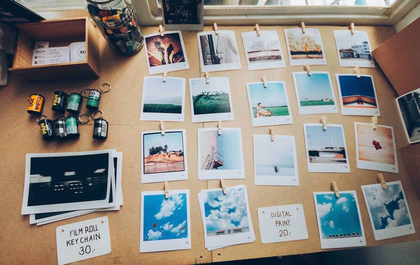 A photographer organises his photographs