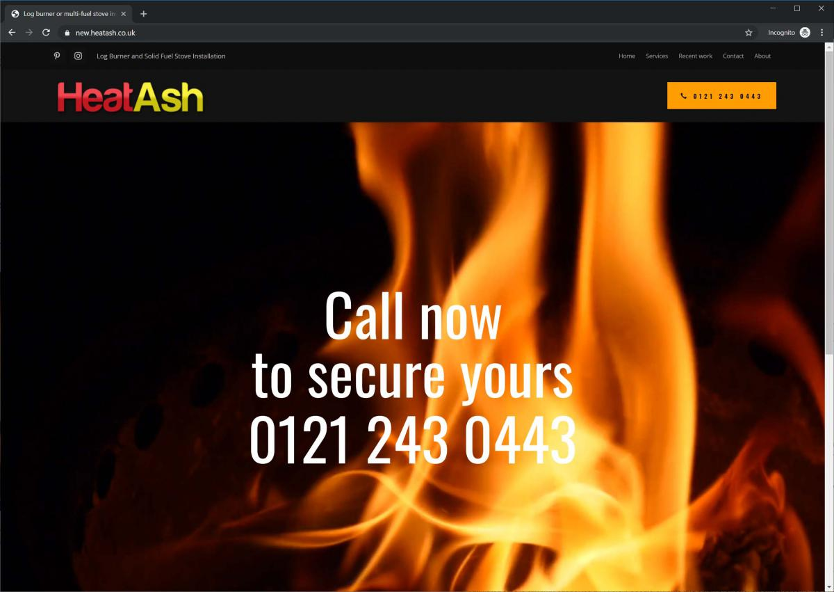 HeatAsh log burner website main page with fire background